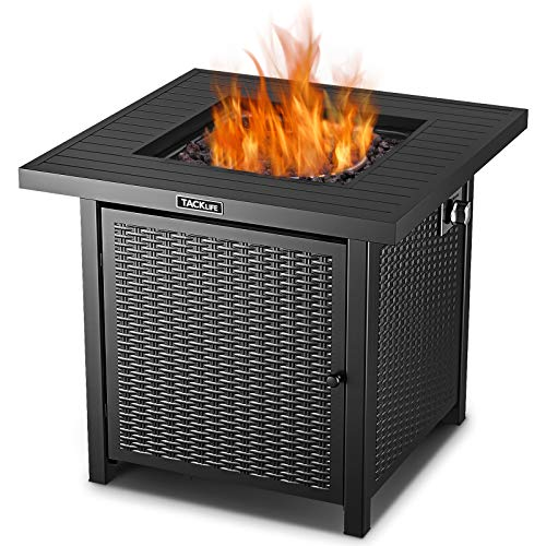 TACKLIFE Propane Fire Pit Table, Outdoor Companion, 28 Inch 50,000 BTU Auto-Ignition Gas Fire Pit Table with Cover, ETL Certification and Strong Striped Steel Surface