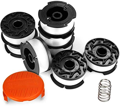 Eventronic String Trimmer Replacement Spool, 30ft 0.065' Autofeed Replacement Spools - Compatible with Black+Decker String Trimmers(8-Line Spool + 1 Cap+1 Spring)