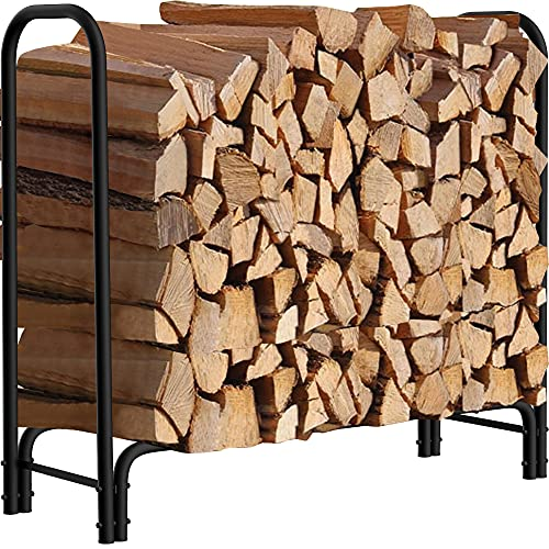 Amagabeli 4ft Firewood Rack Outdoor Log Rack Holder Fireplace Heavy Duty Wood Stacker Patio Deck Metal Kindling Logs Storage Stand Steel Tubular Wood Pile Racks Outside Accessories Black without Cover