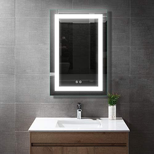BATH KNOT LED Bathroom Makeup Vanity Mirror with Lights-Wall Mounted Backlit Mirror, Vanity Lighted Mirror with ETL Listed for Whole Mirror, Design with Defogger and Touch dimming Switch, 24 x 36 Inch