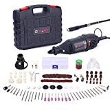 GOXAWEE Rotary Tool Kit with MultiPro Keyless Chuck and Flex Shaft - 140pcs Accessories Variable Speed Electric Drill Set for Handmade Crafting Projects and DIY Creations