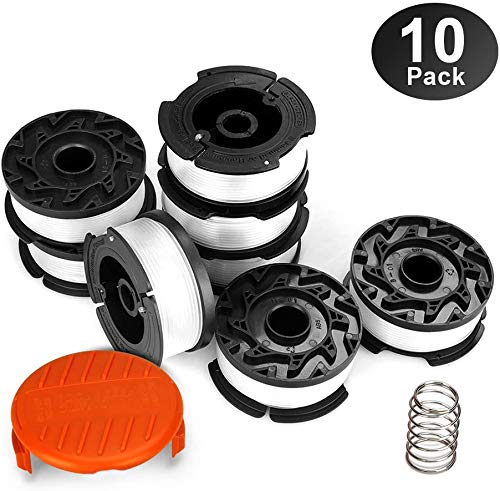 Eventronic String Trimmer Replacement Spool, 240ft 0.065' AF-100 Autofeed Replacement Spools - Compatible with Black+Decker String Trimmers(8-Line Spool + 1 Cap+1 Spring)