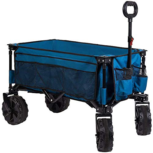 Timber Ridge Folding Wagon Collapsible Utility Outdoor Cart for Camping/Garden/Beach/All Terrain, Light Blue