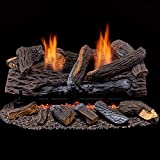 Duluth Forge Ventless Natural Gas Log Set 24 in. Stacked Red Oak-Manual Control, 24 Inch