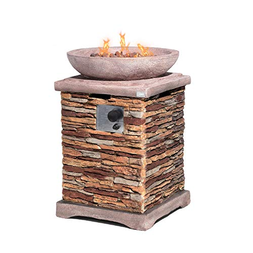 COSIEST Outdoor Propane Fire Pit Table w Faux Brown Compact Ledgestone 20-inch Square Base and Faux Rose-Marble Round Bowl, 40,000 BTU, Free Lava Rocks, Fits 20lb Tank Inside, Raincover