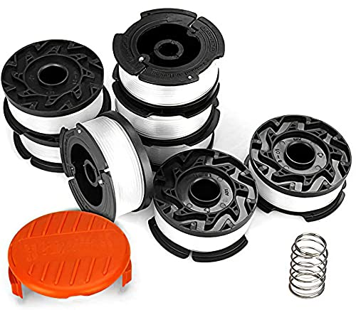 Eventronic 10 Pack String Trimmer Replacement Spool for Black and Decker, 240ft 0.065' AF-100 Autofeed Replacement Spools - Compatible with Black+Decker String Trimmers(8-Line Spool + 1 Cap+1 Spring)