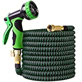 100 ft Garden Hose,Lightweight Garden Water Hose with Solid Brass Fittings,Extra Strength Fabric Gardening Flexible Hose,Easy to Storage No Kink Garden Hoses 9 Function Spray Nozzle