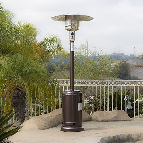BELLEZE 48,000BTU Premium Outdoor Patio Heater with Wheel LP Propane Heat CSA Certified, Bronze