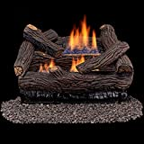 Duluth Forge Ventless Dual Fuel Gas Log Set-18 in. Stacked Red Oak, Remote Control