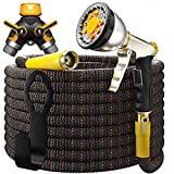 TBI Pro Garden Hose Expandable - Superior Strength 3750D / 4-Layers Latex/Extra-Strong Brass Connectors / 10-Way Durable Zinc Water Spray Nozzle, 2-Way Pocket Flexible Splitter (100 Feet)